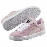 Puma Suede Shoes Boys Pink Lady-White-P.T. Gold (111NXMJT)