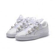 Puma Basket Bling Shoes Womens White-Metallic Gold (124ZYFHJ)