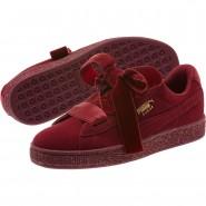 Puma Suede Heart Shoes Girls Tibetan Red-Team Gold (138HVQCB)