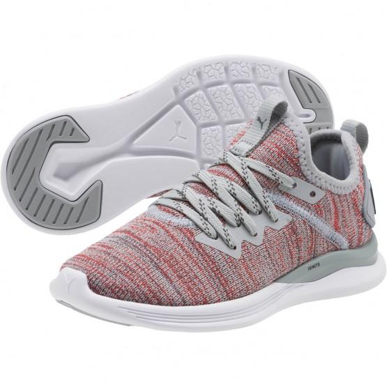Puma IGNITE Flash Shoes Boys Quarry-Hi Risk Red-Asphalt (138VXAKN)