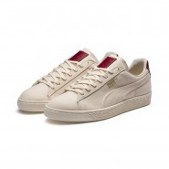 Puma Basket MIJ Running Shoes Womens Whisper White-Red Dahlia (162KDNIS)