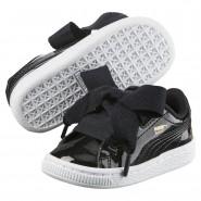 Puma Basket Heart Shoes Girls Black-Black (200NXIOZ)