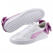 Puma Basket Bow Shoes Girls White-Orchid-Gray (218LFUSX)