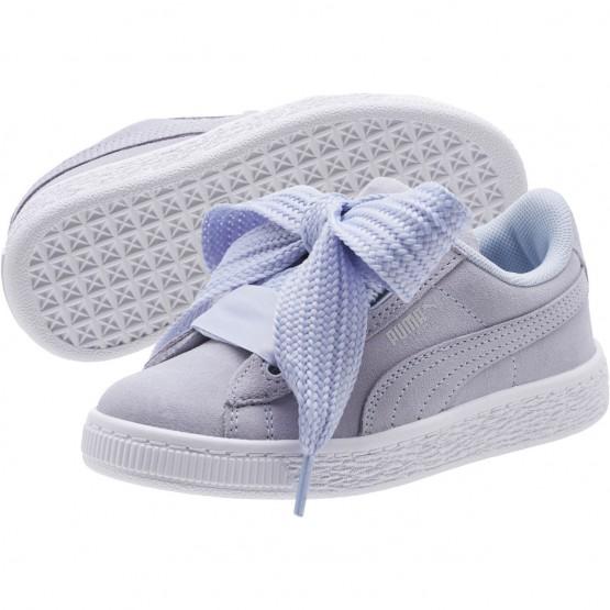 Puma Suede Heart Shoes Girls Halogen Blue-Silver-White (266SZBAL)