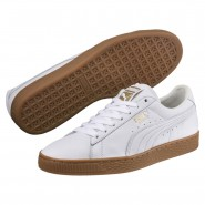 Puma Basket Classic Shoes Mens White-Metallic Gold (275VYQTM)