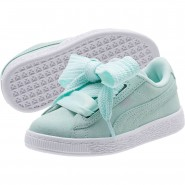Puma Suede Heart Shoes Girls Bay-Silver-White (304KHGXY)