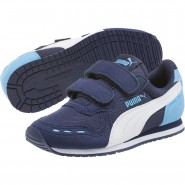 Puma Cabana Racer Shoes Boys P.Coat-P.Wht-Little Boy Blue (311BVLYJ)