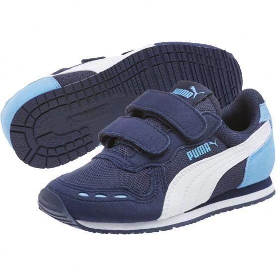 Puma Cabana Racer Shoes Boys P.Coat-P.Wht-Little Boy Blue (311BVLYJ)