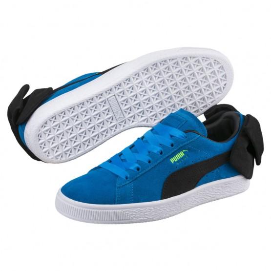 Puma Suede Bow Shoes Womens Plat Blue-Black (313GFPQH)