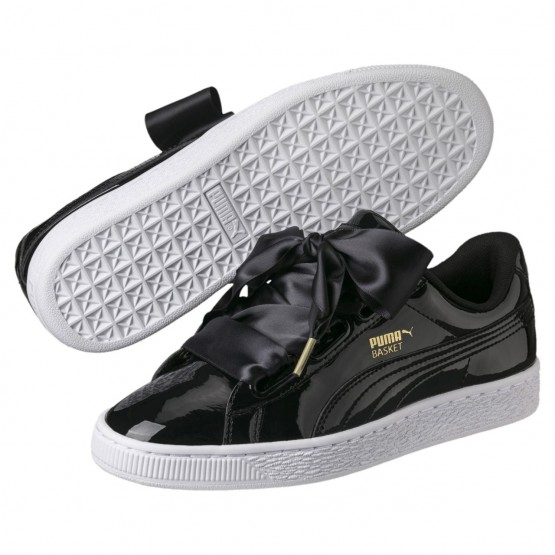Puma Basket Heart Shoes Womens Black-Black (322YKGJF)