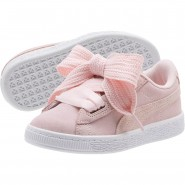 Puma Suede Heart Shoes Girls Pink Dogwood-Silver-White (325SILEO)