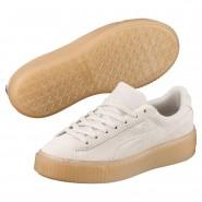 Puma Suede Platform Shoes Girls Whisper White-Whisper White (404IBYAT)