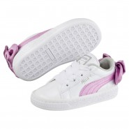 Puma Basket Bow Shoes Girls White-Orchid-Gray (404SVWBX)
