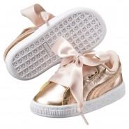 Chaussure Puma Basket Heart Fille Blanche Marron (419DYGJE)