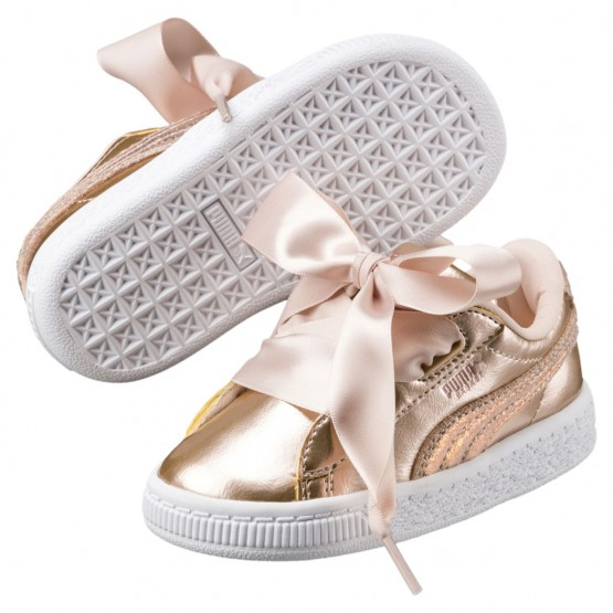 Puma Basket Heart Shoes Girls Cream Tan (419DYGJE)