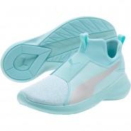 Puma Rebel Mid Shoes Girls Island Paradise-Silver (423LQADR)