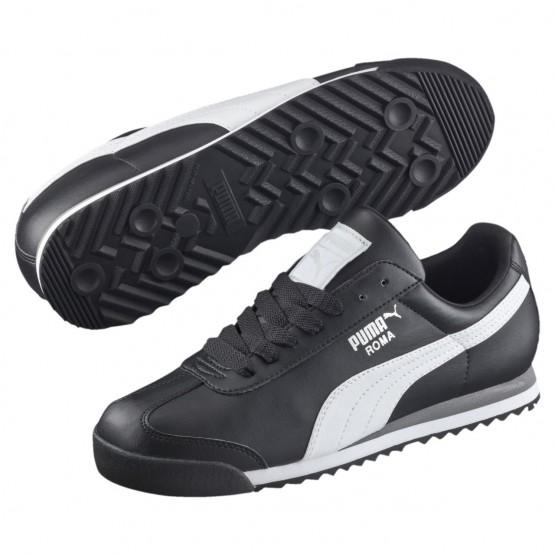 Puma Roma Shoes Mens Black-White-Silver (488JELSD)