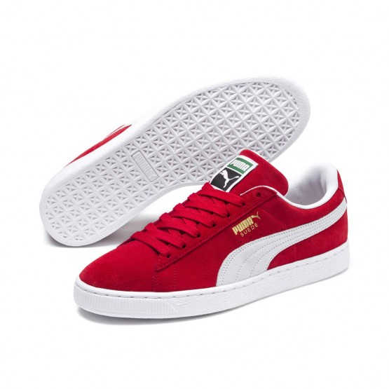 Puma Suede Classic Shoes Mens High Risk Red-White (488VJUGF)