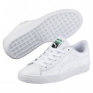 Puma Basket Classic Shoes Boys White-White (530VQIKJ)