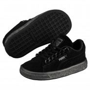 Puma Suede Classic Shoes Boys Black-Black (536BQGUJ)