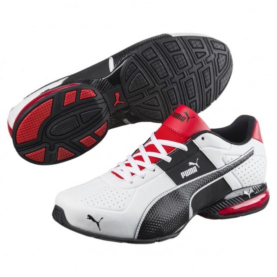 Puma Cell Shoes Mens White-Black-Flame Scarlet (558KVIJC)