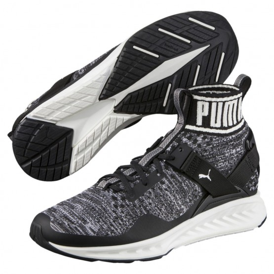 Puma IGNITE evoKNIT Shoes Mens Black-Quiet Shade-White (569AXPIQ)