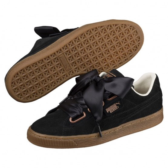 Puma Basket Heart Shoes Womens Black-Black (580CYZDX)