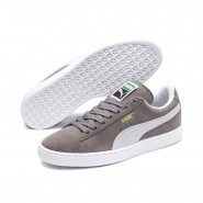 Puma Suede Classic Shoes Mens Steeple Gray-White (580SZYIF)