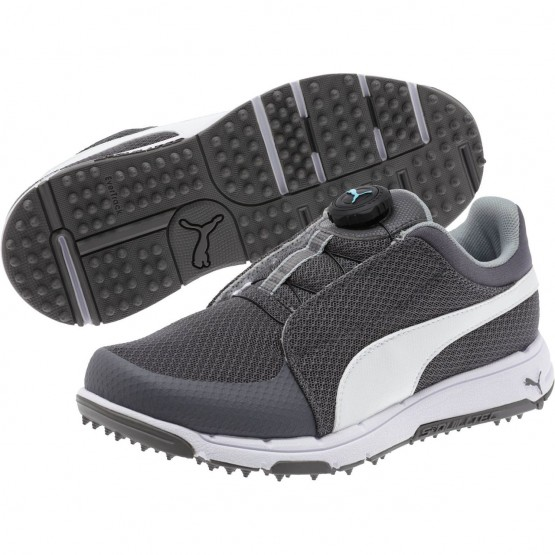 Puma Grip Shoes Boys Quiet Shade-White-Bluefish (583PBGZS)