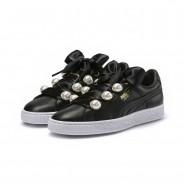 Puma Basket Bling Shoes Womens Black-Metallic Gold (617DHKYF)