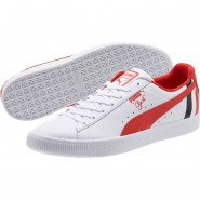 Puma Clyde Lifestyle Shoes Mens White-Flame Scarlet (630UWNHO)