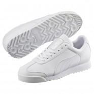 Puma Roma Basic Shoes Boys White-Gray Violet (642BQSWE)