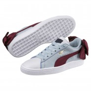 Puma Basket Bow Shoes Womens P.White-Cerulean-Pomegranate (669MRNLB)
