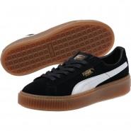 Puma Suede Platform Shoes Womens Black-White (670TYFVA)