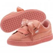 Puma Suede Heart Shoes Girls Desert Flower-White (673HNFOP)