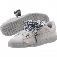 Puma Suede Heart Shoes Womens Gray Violet-Metallic Beige (675YBHWS)