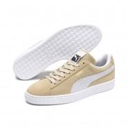 Puma Suede Classic Shoes Mens Pebble-White-White (684LBRMY)