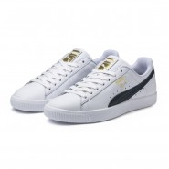 Puma Clyde Shoes Mens White-New Navy-Team Gold (711MAEKJ)