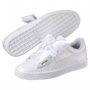 Puma Basket Heart Shoes Womens White-White (711PNVBZ)