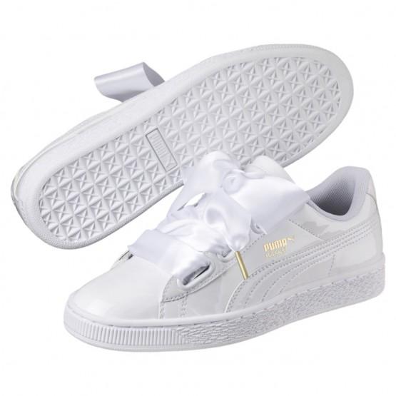 Puma Basket Heart Shoes Womens White-White (711PNVBZ)