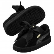 Puma Suede Heart Shoes Girls Black-Black (730KNUXW)