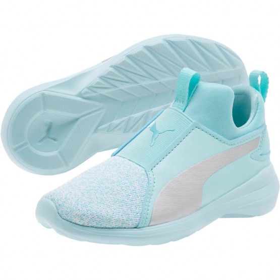 Puma Rebel Mid Shoes Girls Island Paradise-Silver (742DCHLG)