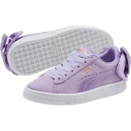 Puma Suede Bow Shoes Girls Purple Rose-Purple Rose (746UPOKT)