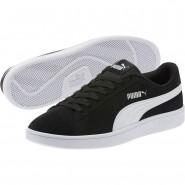 Puma Smash Shoes Mens Black-White-Silver (821VDWAL)