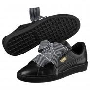 Puma Basket Heart Shoes Womens Black-Black (832BAJOS)
