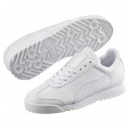 Puma Roma Basic Shoes Boys White-Light Gray (836JSOAL)