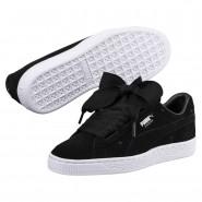 Puma Suede Heart Shoes Girls Black-Black (837CWXSE)