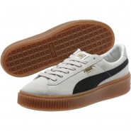 Puma Suede Platform Shoes Womens Whisper White-Black (841JAUEZ)