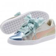 Puma Basket Heart Shoes Womens Silver (842LGNQI)