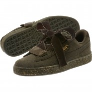 Puma Suede Heart Shoes Girls Olive Night-Team Gold (849FTRHM)